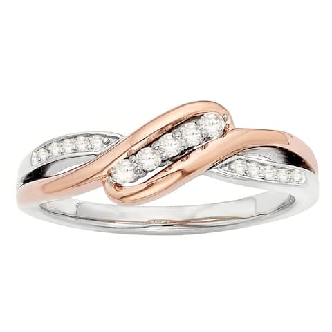 H Star Sterling Silver and 10 Karat Rose Gold Two-tone 1/8ct Diamond Angled Ring