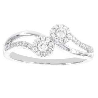 H Star 14k White Gold 1/4ct TDW Diamond Double Halo Ring (I-J, I2-I3)