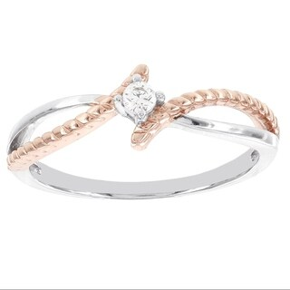 H Star Sterling Silver and Rose-plated Diamond Accent Promise Ring