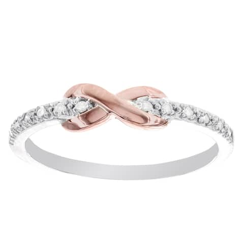 Versil Sterling Silver and 10 karat Rose Gold Diamond Accent Infinity Ring