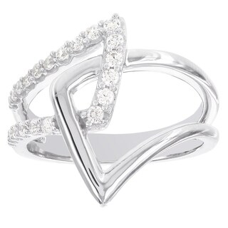 H Star Sterling Silver 1/3ct Abstract Diamond Fashion Ring
