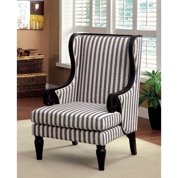 Shop Colindas Whiteblue Woodfabric Wingback Chair Free Shipping