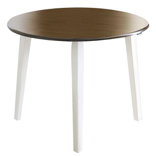 Signature Design By Ashley Woodanville White/ Brown Drop-leaf Round Table