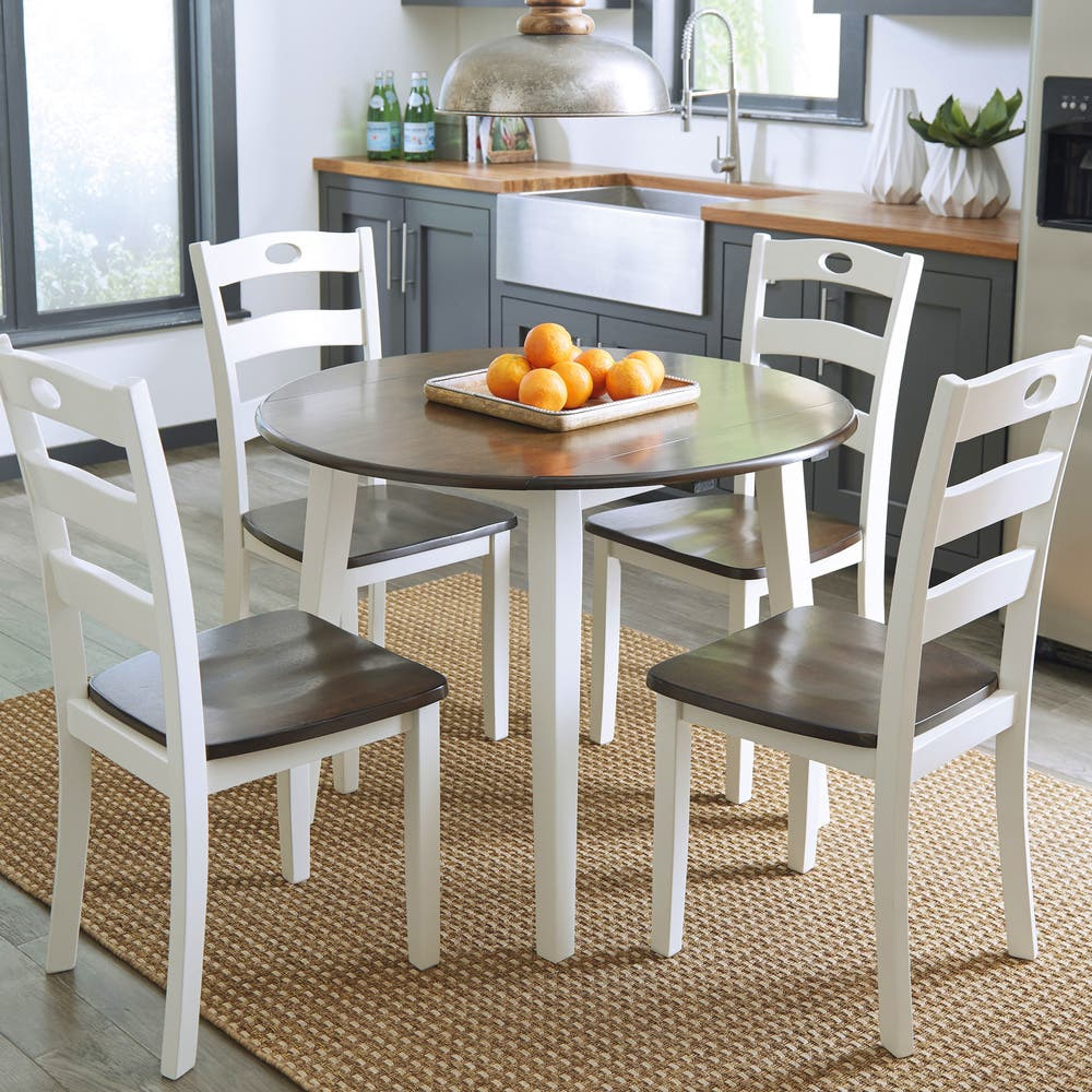Signature Design By Ashley Woodanville White Brown Drop Leaf Round Table Overstock 19475588