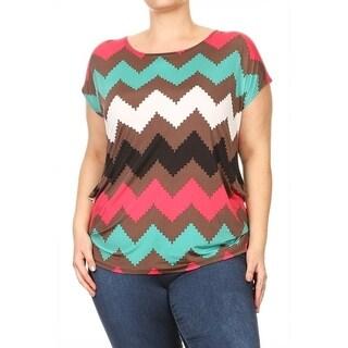 Women's Plus Size Chevron Multicolor Tunic