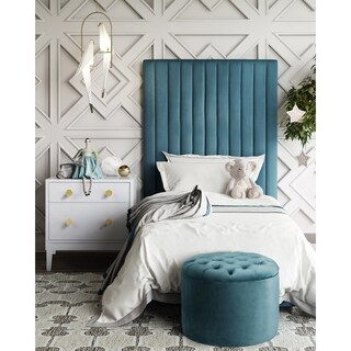 Arabelle Blue Bedroom with Mila table and Queen storage ottoman