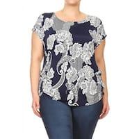 Women's Plus Size Floral Striped Tunic