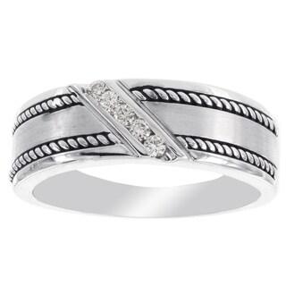 H Star 10 Karat White Gold 1/10-carat Diamond Men's Wedding Band