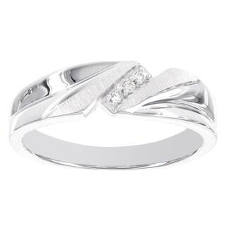 H Star Sterling Silver 0.045ct TDW Diamond Accent Men's Ring (H-I, I3) - White