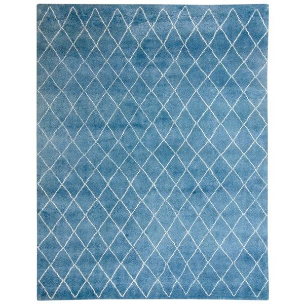 Handmade Herat Oriental Indo Hand-Knotted Moroccan Trellis Wool Rug - 8' x 10'