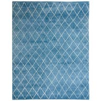 Handmade Herat Oriental Indo Hand-Knotted Moroccan Trellis Wool Rug - 8' x 10' (India)