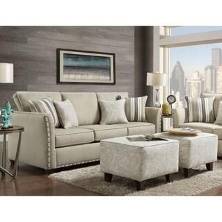 SofaTrendz Mount Laurel Sofa & Double Ottoman Set- Sand