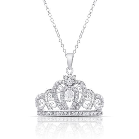 Dolce Giavonna Sterling Silver Cubic Zirconia Crown Necklace