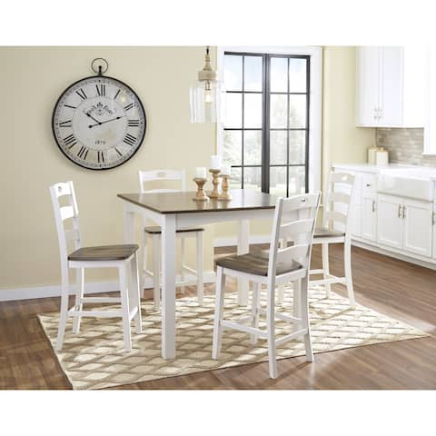 Signature Design by Ashley Woodanville White/Brown Hardwood 5-piece Square Counter Table Dining Set