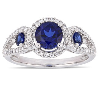 Miadora Signature Collection 10k White Gold Created Blue Sapphire And 1 3ct TDW Diamond 3 Stone Halo Crossover Engagement Ring
