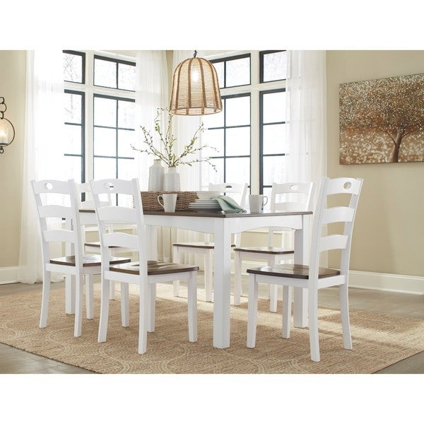 Signature Design By Ashley Woodanville White Hardwood 7 Piece Dining Set