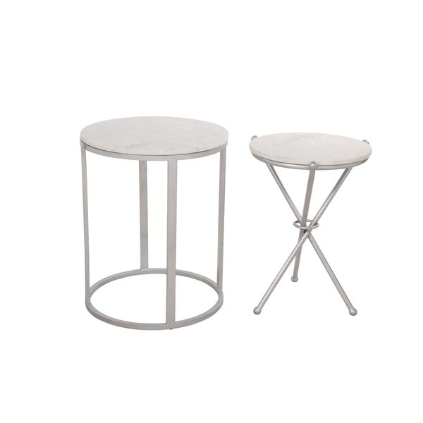 Shop Silver Marble Side Table   Free Shipping Today   Overstock   19475666