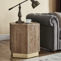 Bailey Contemporary Wood and Brass End Table by iNSPIRE Q Artisan