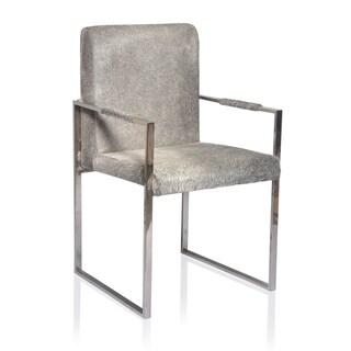 Grey Hide Armrest Dining Chair Polished Steel