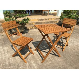 American Patio - 3 Piece Folding Bistro Set - Acacia Wood Table & Chairs