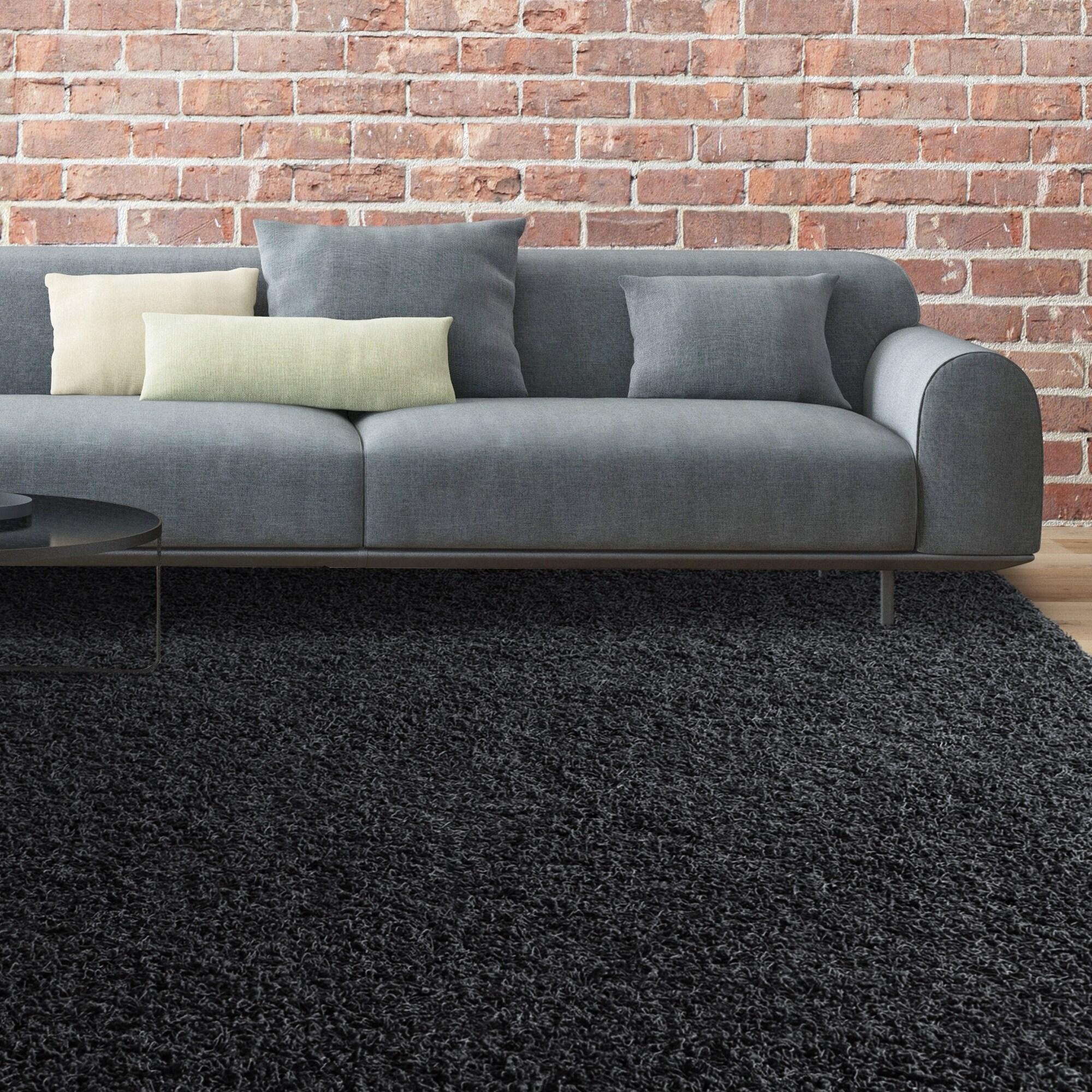 Lanart iCustomRug Bella Black Shag Area Rug (5' x 7'), Si...
