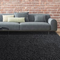 iCustomRug Bella Luxurious Thick Black Shag Rug - 6' x 8'