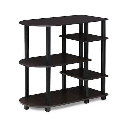 Porch & Den Manchester Espresso/ Black Round Corner Storage Shelf