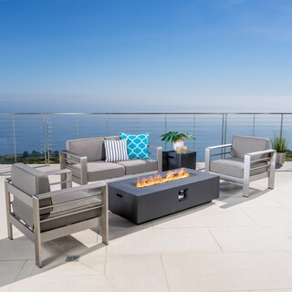 Cape Coral Outdoor 5-piece Chat Set with Fire Table (Optional Sunbrella Cushions) by Christopher Knight Home