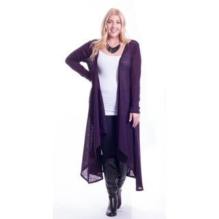 Hot Ginger Women's Plus Size Long Drape Front Open Cardigan
