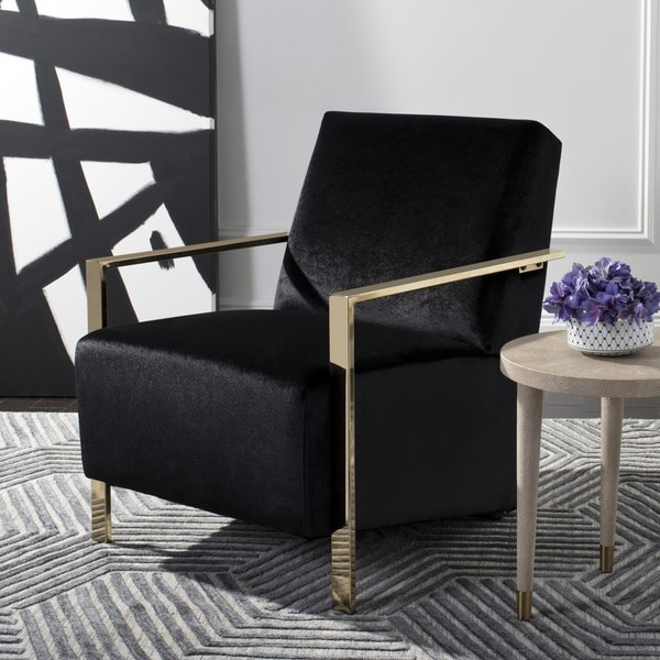 Shop safavieh orna glam black accent chair on sale free shipping today overstock 19478870 for Black accent chairs for living room