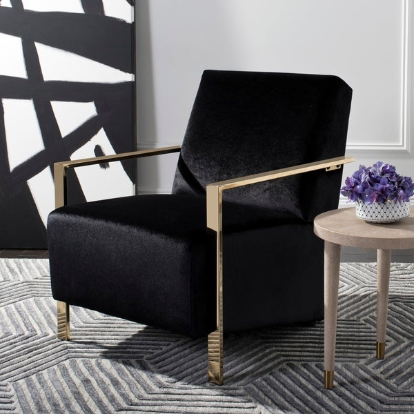"""Safavieh Orna Glam Black Accent Chair - 26.5"""" x 32.5"""" x 32.5"""". Opens flyout."""