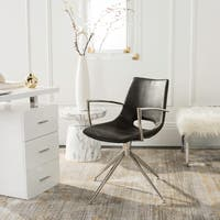 Safavieh Dawn Mid-Century Modern Leather Swivel Dining Arm Chair
