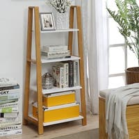 Pearce Maple-finished Pine Small Office Bookcase with White Shelves