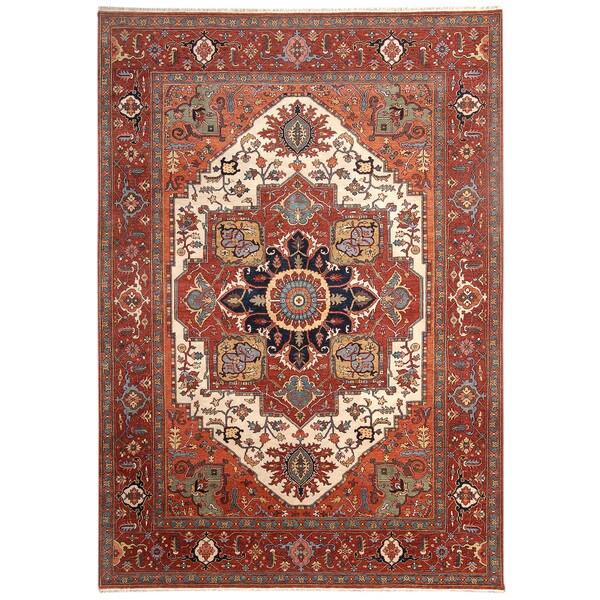 Handmade Herat Oriental Indo Hand-Knotted Serapi Wool Rug (India) - 7'11 x 9'9