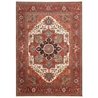Handmade Herat Oriental Indo Hand-Knotted Serapi Wool Rug - 7'11 x 9'9 (India)