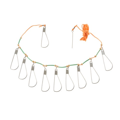 Fish Stringer with 10 Stainless Steel Hooks