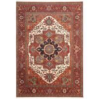 Handmade Herat Oriental Indo Hand-Knotted Serapi Wool Rug (8' x 10') - 8' x10'