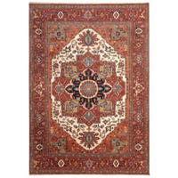 Handmade Herat Oriental Indo Hand-Knotted Serapi Wool Rug (7'10 x 10'1) - 7'10 x 10'1