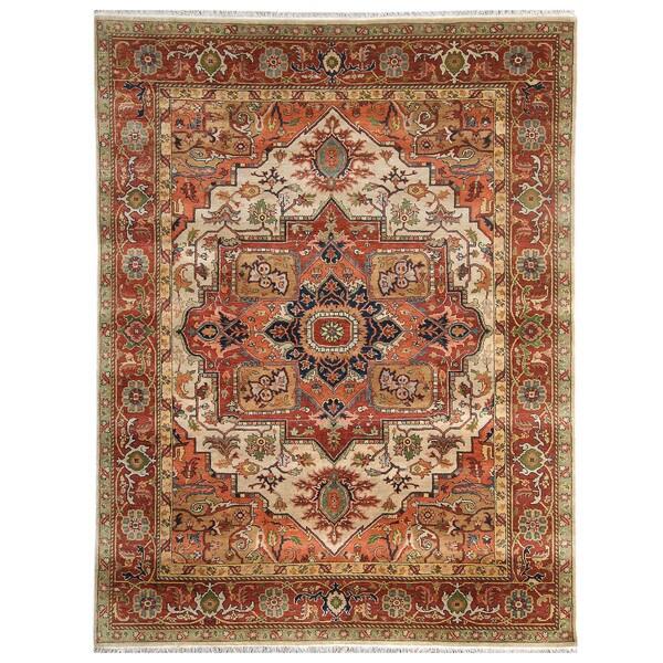 Handmade Herat Oriental Indo Hand-Knotted Serapi Wool Rug - 7'10 x 9'10 (India)