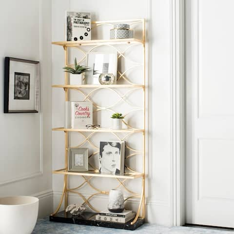 """Safavieh Spano 4-Tier Gold Etagere with Marble Base - 34"""" x 12"""" x 76"""""""