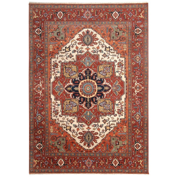 Handmade Herat Oriental Indo Hand-Knotted Serapi Wool Rug - 8'9 x 12'