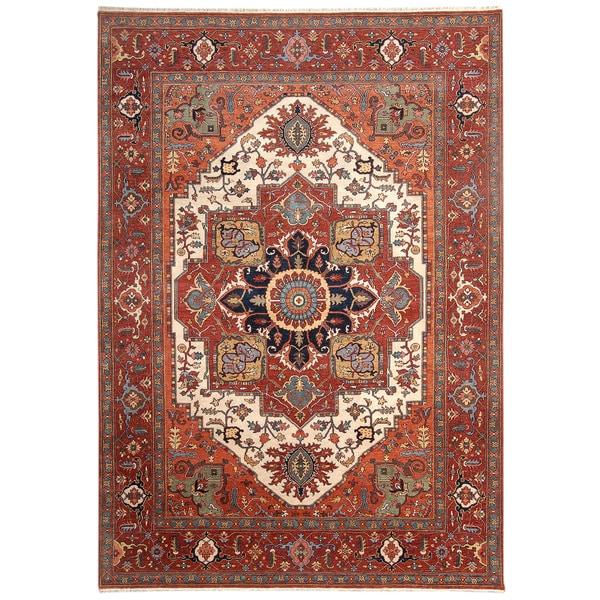 Handmade Herat Oriental Indo Hand-Knotted Serapi Wool Rug (8'10 x 11'10) - 8'10 x 11'10