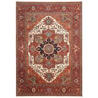 Handmade Herat Oriental Indo Hand-Knotted Serapi Wool Rug (8'9 x 12'2) - 8'9 x 12'2