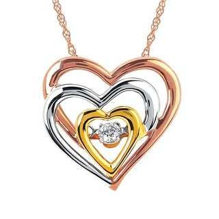 "14Karat Tri-Color 0.05cttw Dimond Heart Pendant w/18"" Rope Chain"