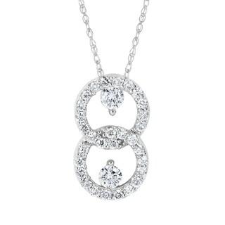 "14Karat White Gold 1/2cttw Diamond Pendant w/18"" Rope Chain"