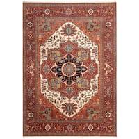 Handmade Herat Oriental Indo Hand-Knotted Serapi Wool Rug - 8'7 x 12'