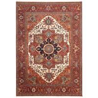 Handmade Herat Oriental Indo Hand-Knotted Serapi Wool Rug (8'11 x 11'10) - 8'11 x 11'10