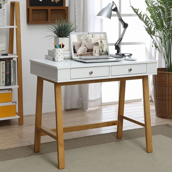 Pearce Maple Wood Small 2-drawer Office Desk with White Top