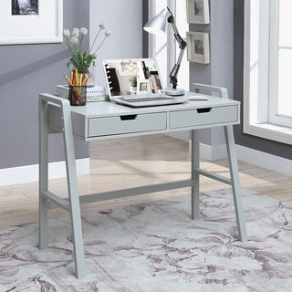painted office furniture. Charles London-grey-painted-finished Pinewood 2-drawer Small Rectangular Office Desk Painted Furniture