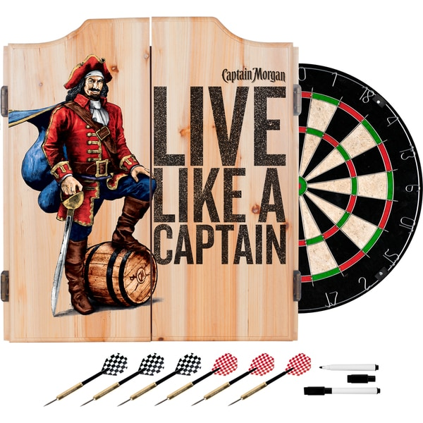 High Quality Captain Morgan Dart Cabinet Set With Darts And Board